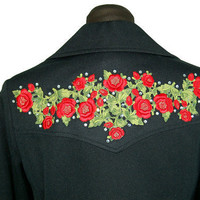 1970s pantsuit, embroidered western shirt, red roses shirt, rhinestones, black red, wide leg pants, Size M