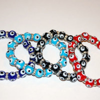 Evil Eye Glass Bead Bracelet with Crystal Spacers (Colors Available)