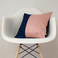 Modern Silk Color Block Pillow Cover in Blush and Navy Blue by JillianReneDecor | Gift for Her | Spring Home Decor | Peach Pink