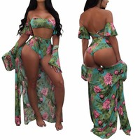 three piece floral bathing suit