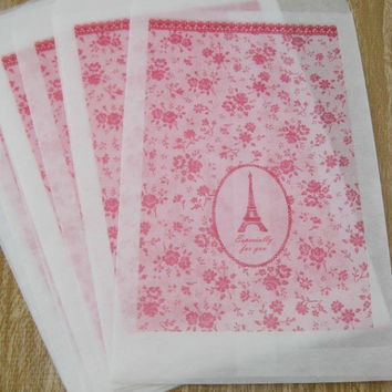 Glassine Gift Bags - Pink/Paris/Eiffel Tower - Set of 12