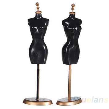 Bluelans Display Holder Dress Clothes Gown Mannequin Model Stand 9.8 For Barbie Doll