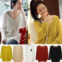Fashion Womens V neck Batwing Loose Sweater Knitted Jumpers Tops Shirts Knitwear