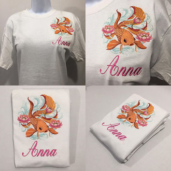 Japanese goldfish - embroidered shirt - coi fish - lotus flowers - personalized shirt with custom text