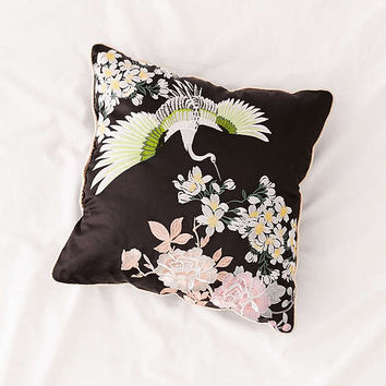 Gracie Embroidered Satin Pillow | Urban Outfitters