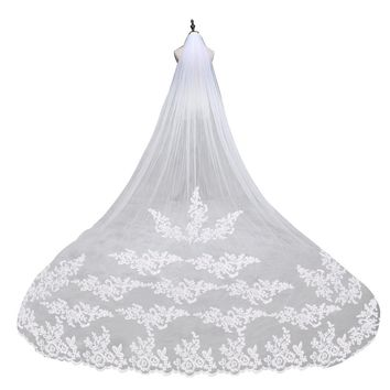 Embroidery Lace Edge Bridal Veil Mantilla with Comb