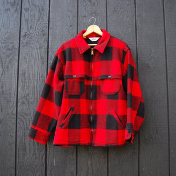 Vintage WOOLRICH Buffalo Plaid Jacket, 60s 70s Mackinaw Cruiser Jacket Large, Red and Black Plaid Wool Jacket, Hunting Fishing Outdoors Coat