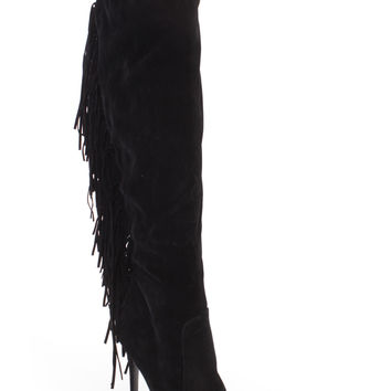 Black Fringe Knee High Single Sole Boots Faux Suede