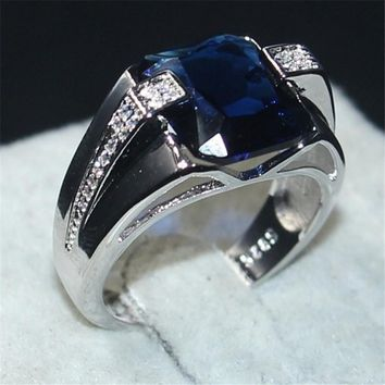 choucong Jewelry Men's 925 Sterling Silver big 6CT square Blue 5a Zircon Stone Engagement Wedding Bands ring for Men Size 8-13