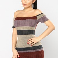 Sweet Tea Stripe Dress - Burgundy/Multi