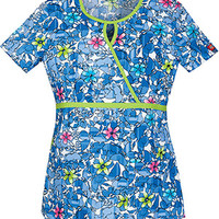Everyday Scrubs by Dickies Womens Keyhole Print Top
