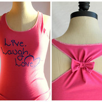 Live. Laugh. Love. Bow Racerback Tank  - Medium