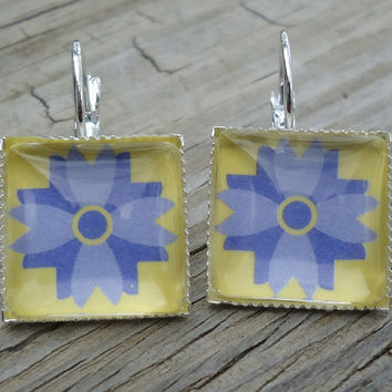Yellow & Lavender Earrings, Silver pierced tile type