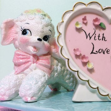 Vintage Lamb with Big Pink Bow Planter