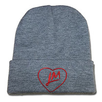 JIUWEI Little Mix Heart Logo Beanie Fashion Unisex Embroidery Beanies Skullies Knitted Hats Skull Caps - Grey