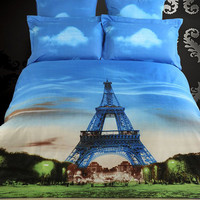 Dolce Mela Eiffel Tower Paris Egyptian Cotton 6 Piece Duvet Cover Set