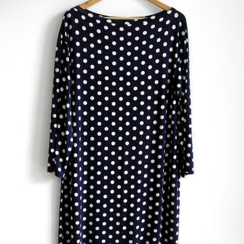 Jersey Dress - Boatneck Dress - Loose Fitting Dress - Midi Dress - Polka Dot Dress - Summer dress - Tunic - Plus Size - Navy Blue - size L
