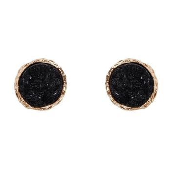 Humble Chic Round Simulated Druzy Studs - Sparkly Bezel Set Circle Post Earrings