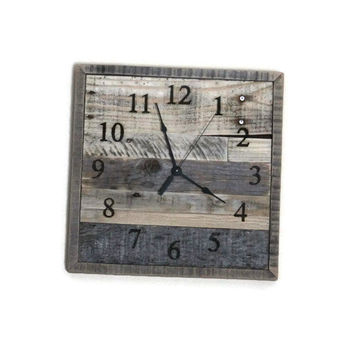 Rustic Reclaimed Pallet Wood Wall Clock Man Cave Rustic Home Decor Trending Urban Industrial Square Clock Gift laser engraved wood burned