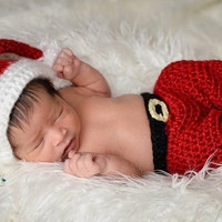 Newborn Santa Set Photo Prop/ Newborn Christmas Photo Prop/ Baby Boy Prop/Crochet Santa Set/ Santa Baby Costume