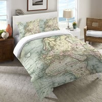 World Map Duvet Cover and Shams