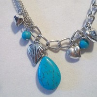 eBlueJay: Turquoise Pear Cluster Chain Necklace Heart Charms Costume Jewelry Fashion Accessories For Her