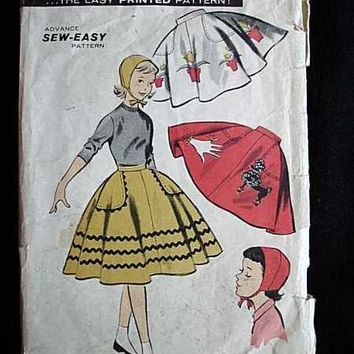 Vintage  Girls Poodle Skirt   Sewing Pattern Advance #8076 1950S