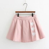 Cute Embroidered Love Pleated Skirt