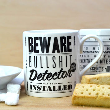 Retro 'Bullshit Detector' Coffee Tea Mug Cup - Vintage Typography - Funny - Sarcasm - Humor - Bone China - UK
