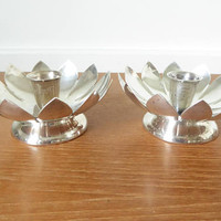 Pair Reed & Barton Water Lily or lotus footed candle holders, number 3001