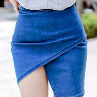 Blue High Waist Asymmetric Wrap Bodycon Mini Skirt