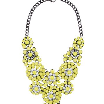 Necklace | Statement Necklaces | Flowers and Rhinestone Statement Necklaces - AKIRA