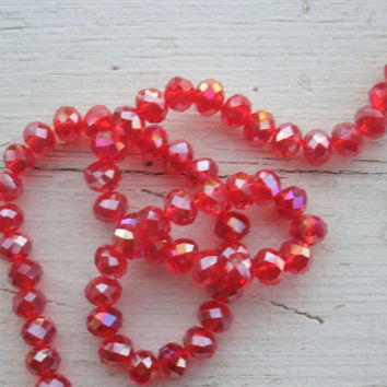 Swarovski Crystal Beads - full strand of 70,  6x8mm Red+AB, rondelle shape beads, crystal beads, bead supply, strand beads, jewelry supply