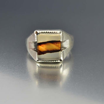 Sterling Silver Art Deco Signet Dendritic Agate Ring