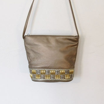 Vintage 1980s Atalla / Glam / Rocker Gold Leather & Metal Crossbody Purse / Bucket Shape / Festival Bag