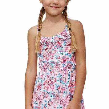 Blue Pink Multi-layer Ruffles Toddler Girls Swim Dress
