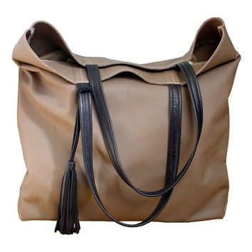 Large leather tote, TAUPE tote bag, large leather bag, handbag, market bag, 16 x 18 x 3 1/2 in stock