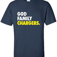 God Family Chargers. Football Fan Tailgate Shirt T-Shirt Funny Vintage swag mens womens ladies TShirt T-Shirt T Shirt Tee  - DT-615