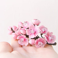 Pink Bridal Cherry blossom Fascinator - Wedding Clay flowers -Floral hair accessories -Wedding cherry blossoms