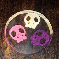 Three Skulls Resin Coaster ~ Housewarming Gift ~ Home Decor ~ Halloween Decor