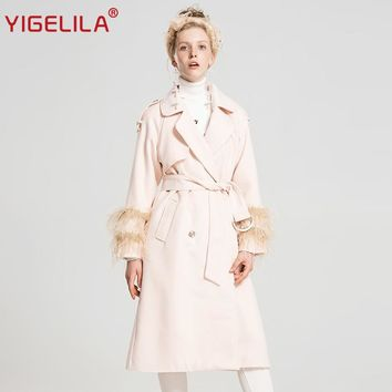 YIGELILA 9511 Latest 2017 Autumn Women Fashion Solid Turn Down Collar Feather Beading Long Woolen Coat