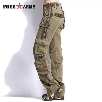 Plus Size Women Pants Casual Khaki Mid Waist Cargo Pants Military Style Ladies Pockets Pants Woman Outdoors Trousers TO7305-2