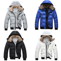 Zipper Closure Faux Fur Collar Hooded Coat