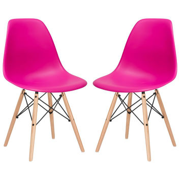 Vortex Side Chair in Fuchsia (Set of 2)