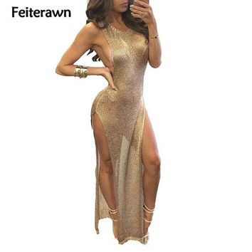 DCCKL6D Feiterawn 2017 Women Summer Sexy Beach Cover Up Split Dress Grey Gold Sleeveless Hollow Out Knitted Bikini Cover Ups DY1586