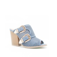 BARNES-80AX Blue Denim Double Buckle Mule