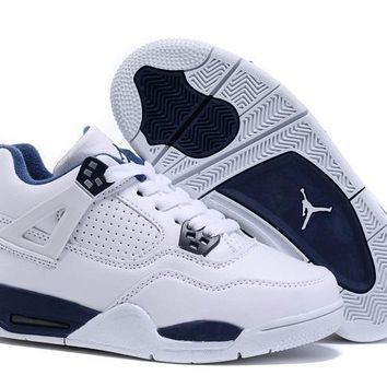 Kids Air Jordan 4 White/Blue Sneaker Shoe Size US 11C-3Y