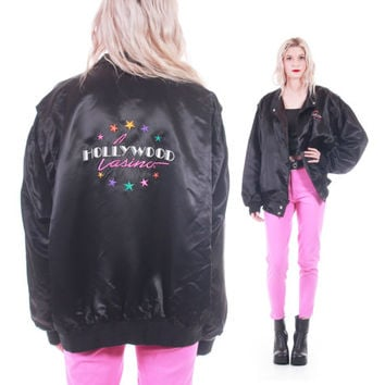 80s Vintage Hollywood Embroidered Black Satin Bomber Jacket Slouchy Hipster Tourist Collectible Unisex Size XL
