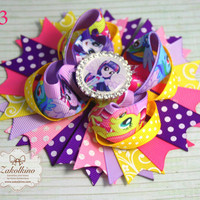 Equestria girls Hair Bow - stacked bow - My Little Pony hair bow - OTT hair bow - Girls Layered Bow - Over the Top Bow - Little pony Party