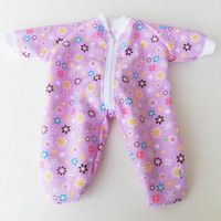 """Bitty Baby pajamas Clothes handmade for the 15"""" Girl ,  or baby doll  zip up flannel feetie pjs sleeper Lavender Purple Heart Valentines day"""